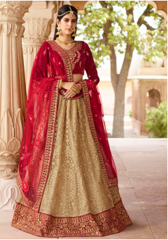 Dark Red with Tan Color Designer Velvet Lehenga