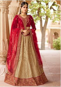 Dark Red with Tan Color Designer Velvet Lehenga