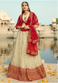 Dark Red with Off white Color Designer  Lehenga