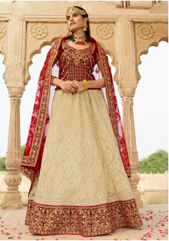 Maroon with Cream Color Designer Lehenga