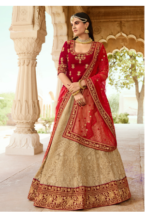 Ruby Red with Tan Color Designer  Lehenga