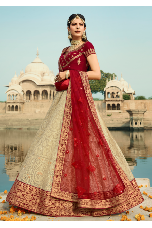 Maroon with White Color Designer  Lehenga