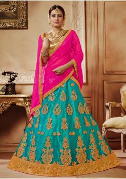 Fuscia with Blue Color Designer Net Lehenga Choli