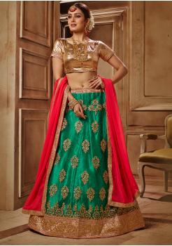 Dark Green with Gold Color Designer Net Lehenga Choli