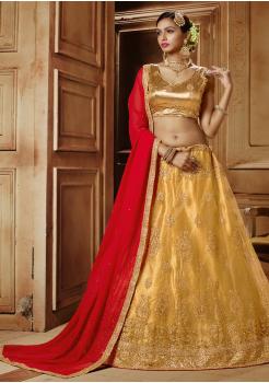 Golden with Red Color Designer Net Lehenga Choli