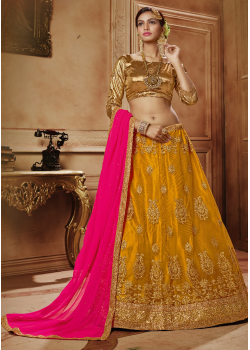 Yellow with Golden Color Designer Net Lehenga Choli