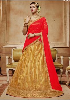 Candy Red Color Designer Net Lehenga Choli