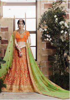 Orange and Parrot Green Color Net Designer Lehenga Choli