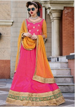 Two Tone Pink Orange and Mustard Yellow Color Silk Lehenga Choli