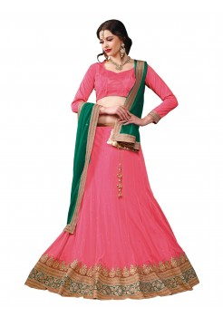 Peach Pink with Peacock Green Lehenga Choli