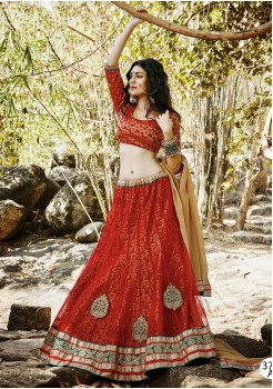 DARK RED BRIGHT SQUARE NET FABRIC LEHENGA CHOLI