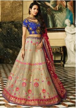 Off White with Blue Color Designer Silk Jacquard Lehenga Choli