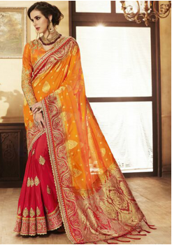 Yellow with Red Color Designer Saree