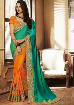 Green with Mango Color Designer Saree