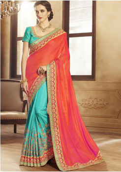 Sky Blue with Red Color Designer Saree