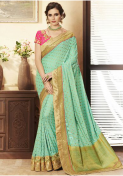 Cyan with Golden Printed Color Designer Saree