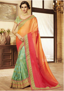 Orange with Cyan Color Designer Saree