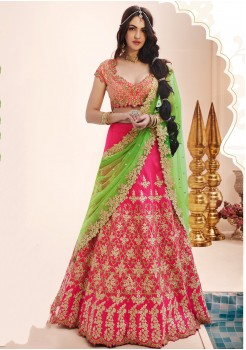 PINK AND GREEN COLOR  LEHENGA CHOLI