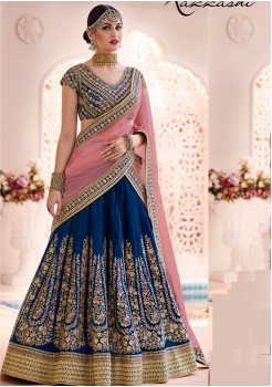 NAVY BLUE AND PINK COLOR LEHENGA CHOLI