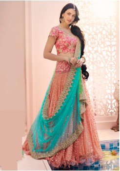 PEACH AND LIRIL GREEN COLOR NET AND DHUPIAN FABRIC LEHENGA CHOLI