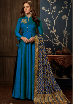 Designer Peacock Blue Color Jacquard Party Wear Gown