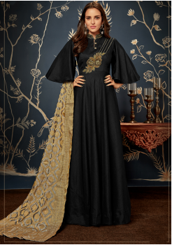 Designer Black  Color Jacquard Party Wear Gown