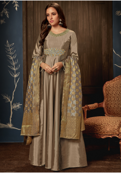 Designer Grey Color Jacquard Party Wear Gown