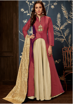 Designer Brown Color Jacquard Party Wear Gown