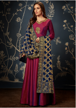 Designer Garnet with Blue  Color Jacquard Party Wear Gown