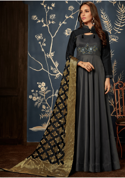 Designer Black with Gold Color Jacquard Party Wear Gown