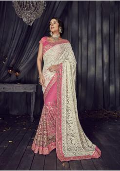 White with Pink Color Satin Designer  Saree