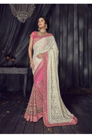 White with Pink Color Satin Designer  Saree