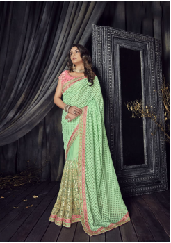 Seafoam Green Color Satin Designer  Saree