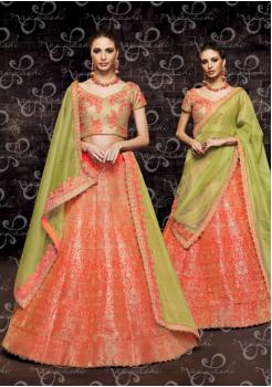 Orange with Pear Green Color Designer Brocade Lehenga Choli