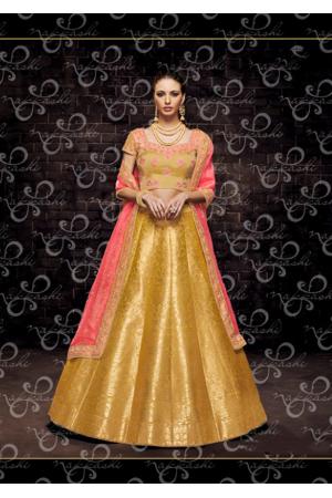 Gold with Peach Color Designer Brocade Lehenga Choli