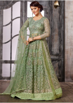 Olive Green Color Silk Designer Suit