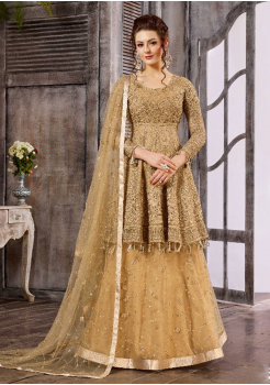 Golden Color Net Designer Suit