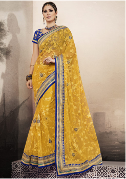 Yellow with Blue Color Designer Georgette Saree