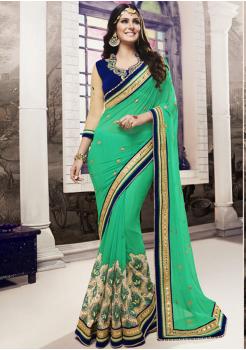 Parakeet Green Color Designer Georgette Saree