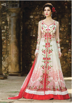 White with Red Color Party Wear Designer Gown