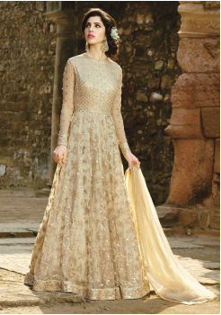 Cream Color Party Wear Designer Gown