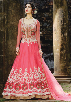 Rose Color Party Wear Designer Gown