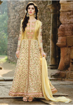 Cream with Golden Color  Party Wear Designer Gown