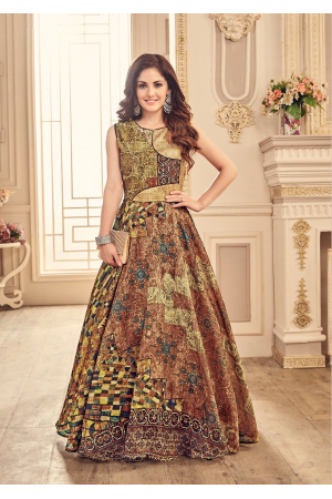 Designer Brown with Multi Color Party Wear Gown
