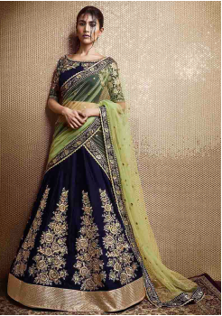 Navy Blue Color Designer Velvet Lehenga Choli