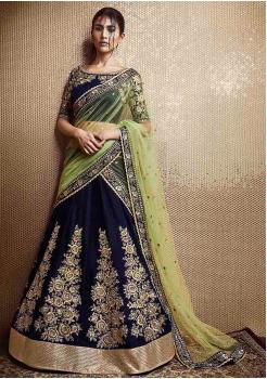 Navy Blue Color Designer Velvet Lehenga Choli