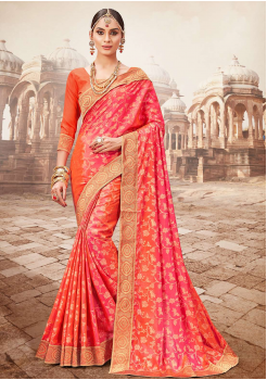 Orange with Pink Color Designer Saree