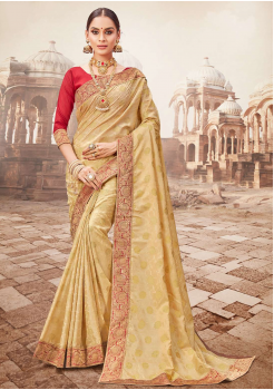 Golden with Red Color Designer Saree