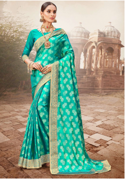 Rama Green Color Designer Saree