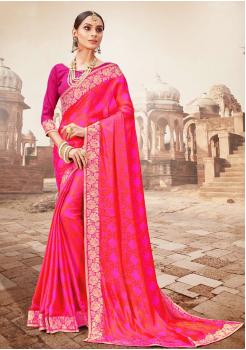 Dark Pink Color Designer Saree